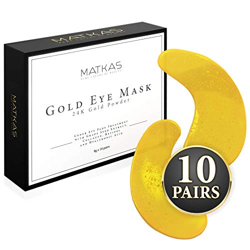 MATKAS 24k Gold Under Eye Mask | Eye Patches for Dark Circles, Bags, and Puffiness | Concentrated Specialty Under Eye Pads Treatment with Grape Seed Extract, Collagen, Retinol, and Hyaluronic Acid