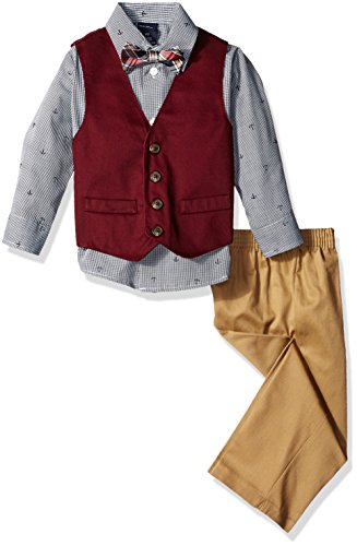Nautica Boys' 4-Piece Vest Set with Dress Shirt, Bow Tie, Vest, and Pants, Navy Twill, 3T ()