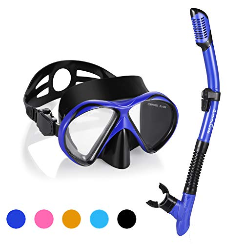 (Snorkel Set Snorkeling Gear Package Premium Silicone Dive Mask Snorkel Anti-fog Anti-leak Fit For Adult Kids With Neoprene Mask Strap GoPro Mount For Scuba Diving Freediving Spearfishing Swimmin(blue) )