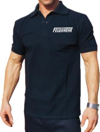"""Polo-Shirt FEUERWEHR mit langem """"F"""" - silber reflektierend - beidseitiger Schriftzug"""