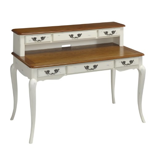 Home Styles 5518-152 The French Countryside Executive Desk and Hutch, Oak and Rubbed White