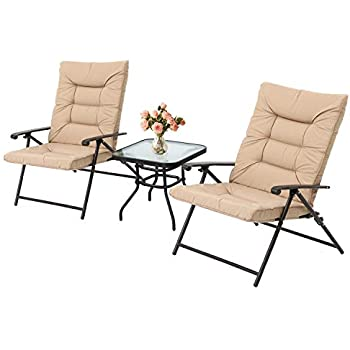 Amazon Com Outroad 3 Piece Patio Padded Folding Chair Set