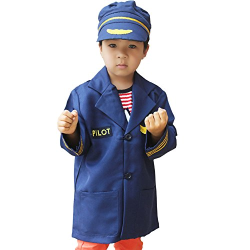 [GradPlaza Children Airline Pilot Costume Navy Blue] (Pilot Costumes Kids)