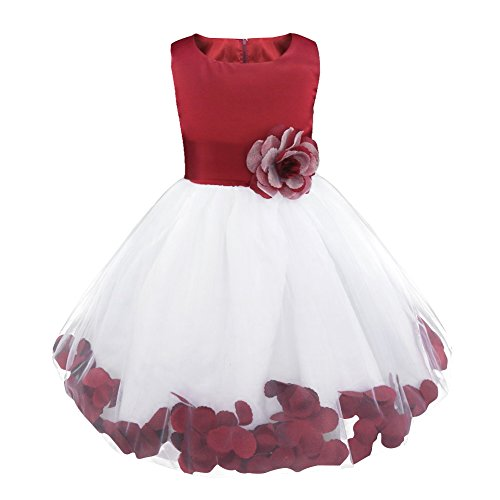Freebily Toddler Girls Sleeveless Petals Tulle Bow Tutu Dress Princess Wedding Pageant Bridal Flower Girl Dress Burgundy 10