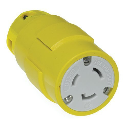 Woodhead 2747 Super-Safeway Connector, Industrial Duty, Locking Blade, 2 Poles, 3 Wires, NEMA L5-20 Configuration, Rubber, Yellow, 20A Current, 125V Voltage by Woodhead