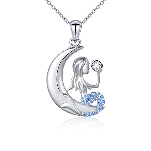 Ladytree S925 Sterling Silver Mermaid Crescent Moon Pendant Necklace for Women Girls,18