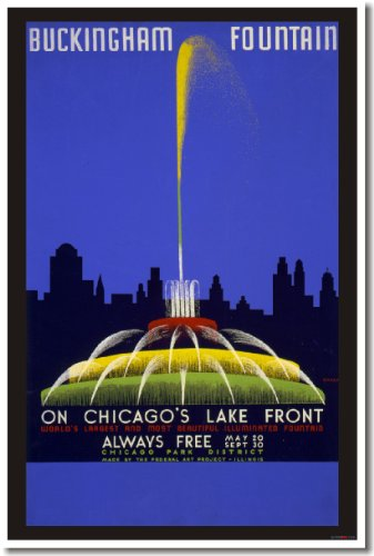 Buckingham Fountain - On Chicago's Lake Front, Vintage Reproduction, WPA Poster - 1930 Wall