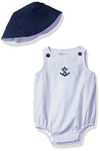 Nautica Baby Boys' Woven Bubble Set with Hat, Medium Blue, 3/6 Months