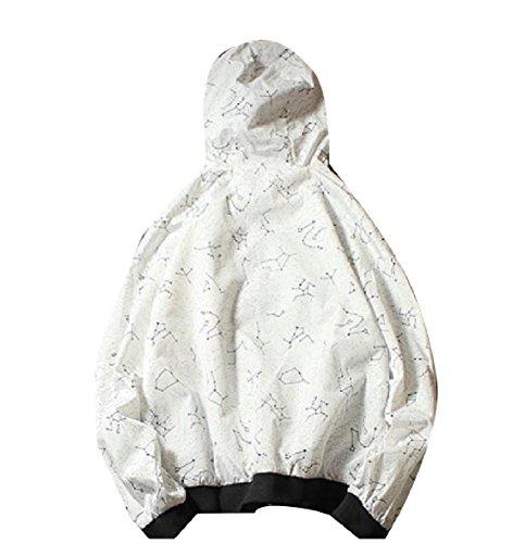 Men Hood Coat with Drawstring XINHEO Zip Windproof Printed Outdoor White B1dxwq7nE