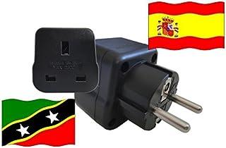 Adattatore da viaggio SPAGNA a St. Kitts-Nevis ES–Kn Adattatore di viaje-españa, contatto di protezione, 2200Watt)