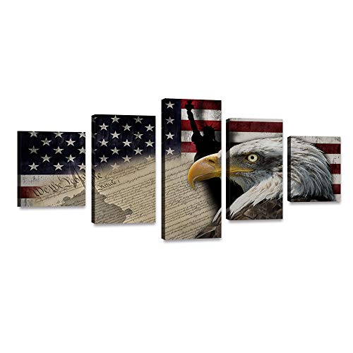5 Piece Bald Eagle American Flag Canvas Painting USA Statue of Liberty Flag Wall Art Vintage Poster Patriotic Picture Red Blue White Print Artwork Home Decor for Living Room Bedroom Office (60