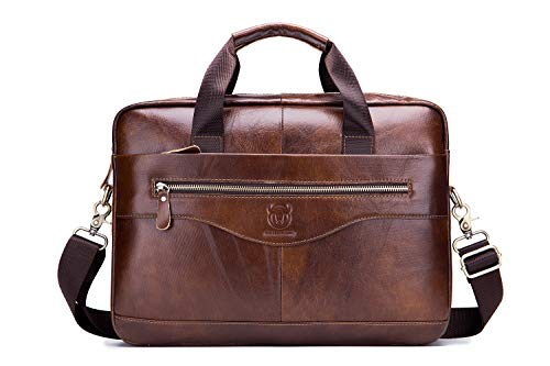 Messenger Bag Briefcase EveryEzy Bullcaptain Genuine Leather 15.6