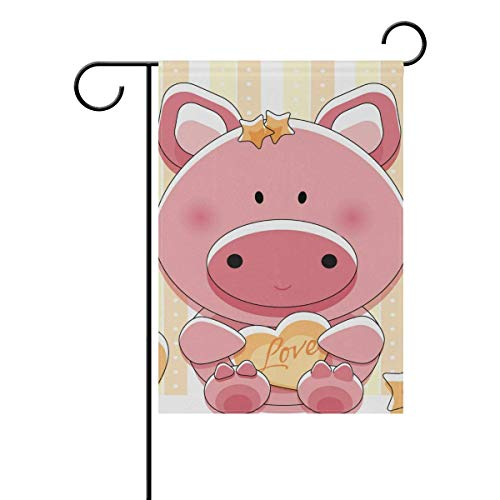 GRAETfpeoglsd Home Garden Flags Lovely Piggy with Heart Print Double Sided Decorative House Flags Yard Flag Banner Spring Winter for Wedding Christmas Birtday Party Decorations - Heart Piggy