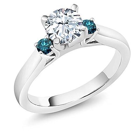 1.40 Ct White Created Sapphire Blue Diamond 925 Sterling Silver 3-Stone Ring - Sterling Silver Diamond Antique Ring