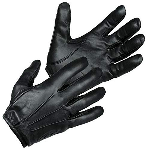 Police Leather Gloves - TACTICAL POLICE KEVLAR LINER CUT RESISTANT PATROL DUTY SEARCH GLOVES (Medium)