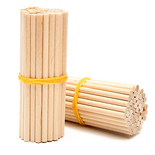 Dowel Rods 100 Pieces Natural Bamboo Unfinished Dowel Rods Craft Sticks for DIY Crafts Model Projects Making Building Woodcraft Woodworking Kids Educational Toys - 200mm, Diameter 4mm (6mm) - Natural Woodcraft Sticks