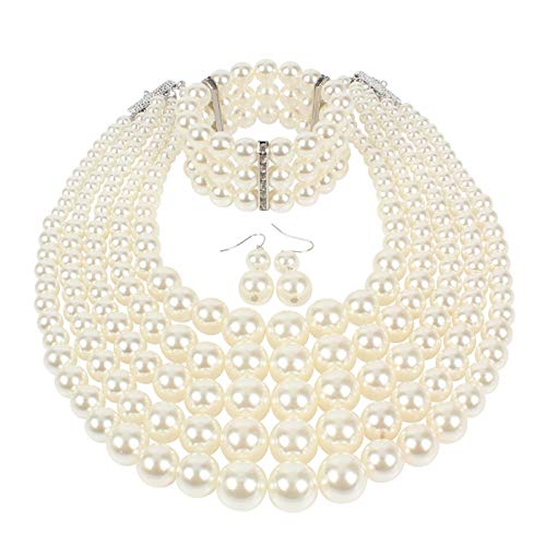 - KOSMOS-LI Multi Layer Pearl Strand Necklace Bracelet and Earring Faux Ivory Pearl Jewelry Set