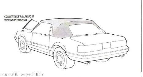 1987 Mustang Convertible Pillar Post Right Passenger/'s Side Weatherstrip Seal