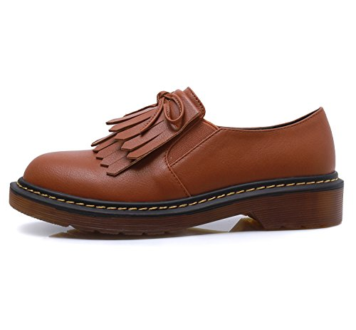 Smilun Girl¡¯s Derby Classic Lace-up Shoes Smooth Leather Flats Smooth Leather Office Business Dress Shoes for Girl Brown Size 6 B(M) US by Smilun (Image #2)