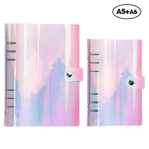 A5 Binder+A6 Binder,6 Ring Standard Rainbow Round Ring Binders Snap Button Closure Loose Leaf Folder Colorful Soft PVC Notebook Transparent Agenda Shells Stretch Fabric for Ring-Bound Planner Pages
