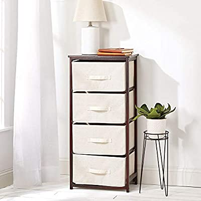 mDesign Vertical Dresser Storage Tower - Sturdy Bamboo Frame, Easy Pull Fabric Bins - Organizer Unit for Bedroom, Hallway, Entryway, Closets - 4 ...