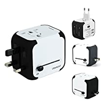 Ailuner Travel Adapter,Worldwide Power Converters Universal World Travel Plug Adapter with 2.4A Dual USB Charger & Worldwide AC Wall Outlet Plugs for USA EU UK AU. (White)