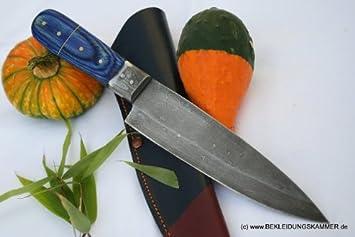De acero de Damasco cuchillo de cocina aioro con asa azul ...