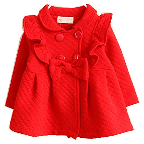 Baby Girls Outwear Trench Coat Jacket 6M-4T Kids Clothes (Red, 3T / Tag 90)