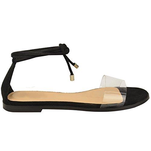 Mote Tørste Kvinner Flat Plattform Pleksiglass Tropp Ankelen Binde Opp Sommer Sandaler Sko Størrelse Svart Imitert Semsket Skinn