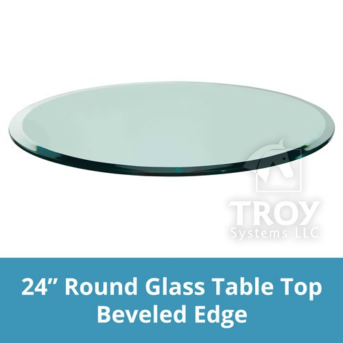 """TroySys Glass Table Top, Beveled Edge, Tempered Glass, 24"""" L"""