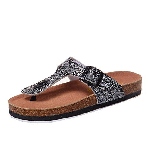Sandals PU Print Upper Clip Toe Slippers Female Summer Fashion EVA Cork Flat Shoes 5 KmrzdkK