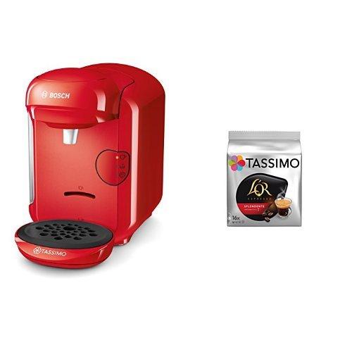 Bosch TAS1403 Tassimo Vivy 2 (color rojo) + Pack café 5 paquetes (80 cápsulas) Tassimo Splendente