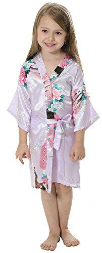 Joytton Girls' Satin Kimono Robe For Spa Party Wedding Birthday (2,Mauve)
