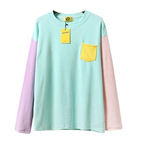 6e14c210948 delicate Cute Kawaii Harajuku Blue With Pocket Pullover Crewneck  Sweatshirts Size M