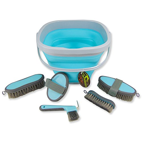 Southwestern Equine Collapsible Grooming Kit 10 Liter Bucket and 5 Grooming Tools By (Turquoise)