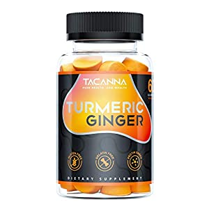 Tacanna Turmeric Ginger Gummies - Curcumin Joint Support - Pain Relief, Antioxidant, Anti-inflammatory. All Natural Factors Chewable Ginger, Turmeric Chews for Adults & Kids, Curcumin 60 Count 61