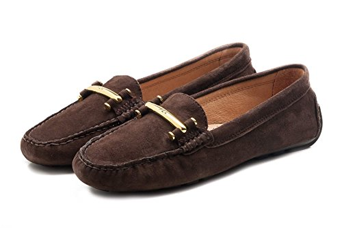 Dark Marron Brown Ralph Mocassins Lauren femme pour XwaqgOB
