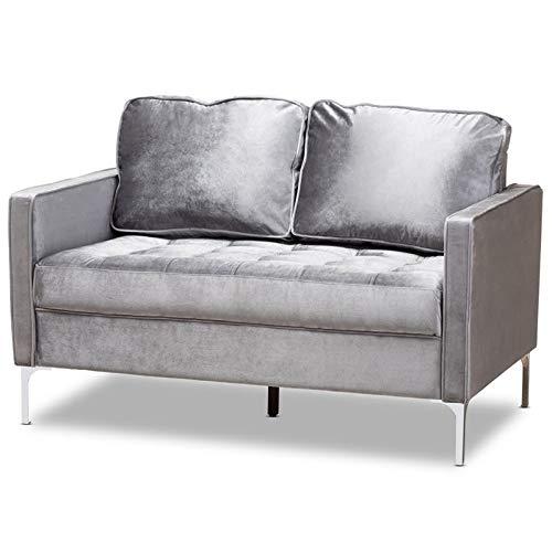(Baxton Studio Clara Velvet Fabric Upholstered Loveseat in Grey)