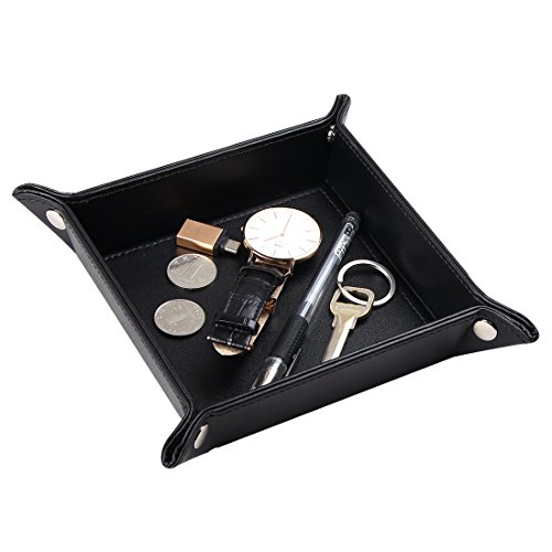 SanPlus Valet Tray, Leather Jewelry Organizer for Catchall Key Phone Coin Tray Change (Gift Box Valet)