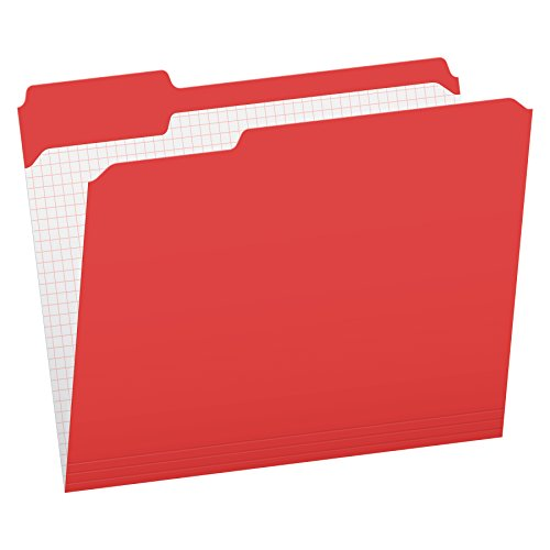 Pendaflex Carpetas de archivos, 2 capas, reforzadas, 1/3 corte, pestaña superior, Ltr, 100 por caja, Rojo, Carta
