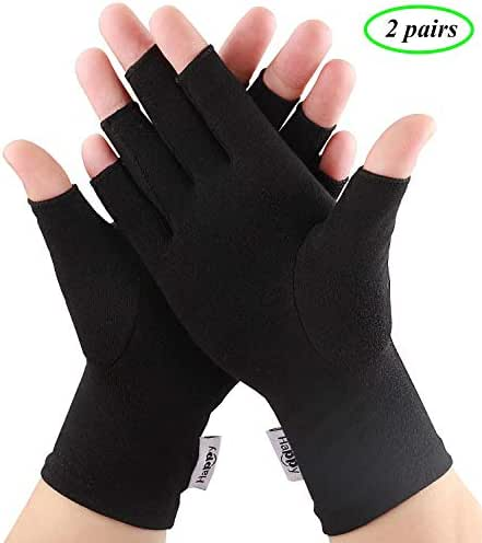 2 Pairs Compression Arthritis Gloves, Fingerless Gloves for Women Rheumatoid & Osteoarthritis - Joint Pain and Carpel Tunnel Relief Hand Gloves for Men (Black, Large-2 Pairs)