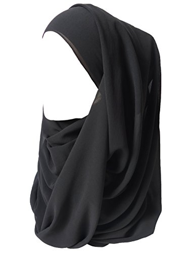 Lina & Lily Solid Color Thick Chiffon Muslim Hijab Long Scarf (Black) by Lina & Lily
