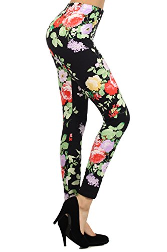 Leggings Depot Women's High Waist Floral Printed Leggings Pants (Garden Of Eve)
