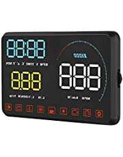 Car Head Up Display 5.5in Dual System A9 5.5in HUD OBD II/GPS Projector Vehicle Speed MPH KM/h,Engine RPM,OverSpeed Warning,Mileage Measurement,Water Temperature,Voltage