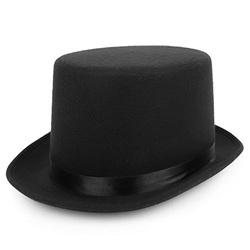 Armycrew 5 Inch High Deluxe Felt Top Hat with Precuved Bill - BLACK - MEDIUM - Black Top Felt Hat Deluxe