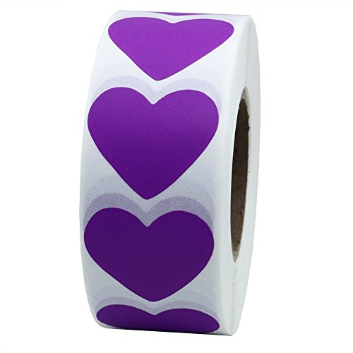 Hybsk Purple Color Coding Dot Labels 30mm Love Heart Natural Paper Stickers Adhesive Label 1,000 Per Roll (1 Roll)