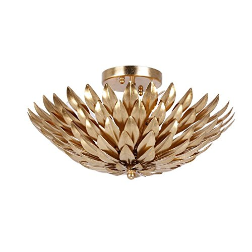 Crystorama 505-GA Leaf, Flower, Fruit Four Light Ceiling Mount from Broche collection in Gold, Champ, Gld Leaffinish,