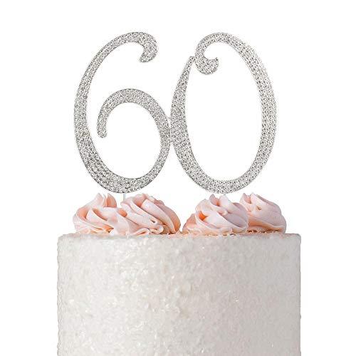 60th Anniversary Birthday (60 Rhinestone Birthday Cake Topper | Premium Sparkly Bling Crystal Diamond Rhinestone Gems | 60th Birthday or Anniversary Party Decoration Ideas | Perfect Keepsake (60 Silver))