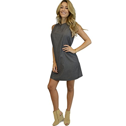OhConcept Collection Cotton Chambray Sheath Dress Black Denim - - Windsor Optical