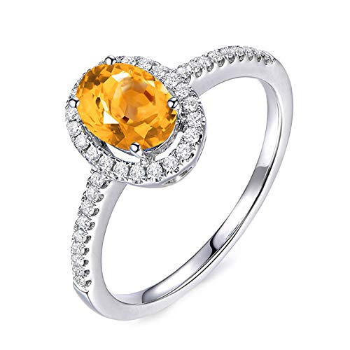 Daesar Promise Rings 925 Sterling Silver Ring Cubic Zirconia Rings Oval Cut Yellow Citrine Rings Silver Ring Size 9.5